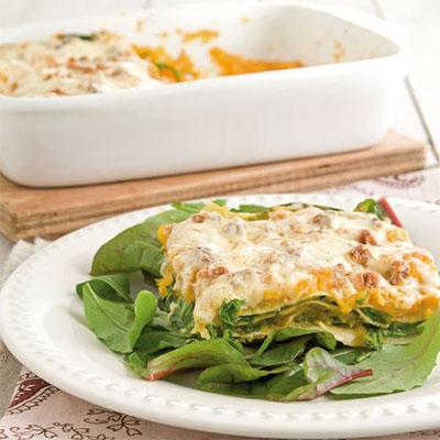 Tasty butternut squash and spinach Italian lasagna