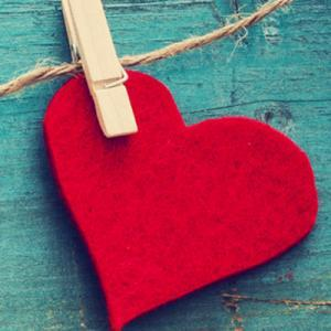 Valentine heart cut outs hanging on string